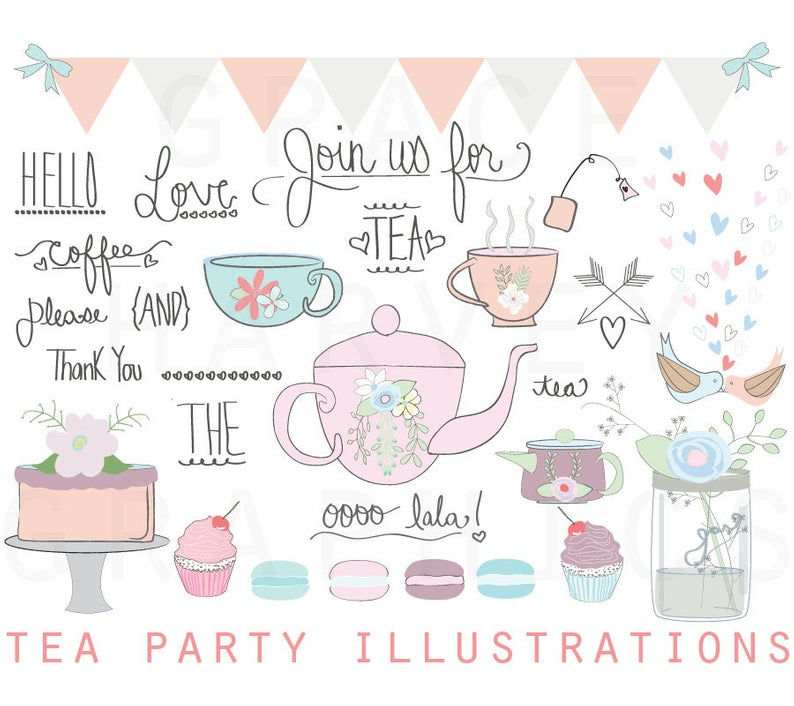 Tea Party ClipArt, Wedding Bridal Shower Clip Art, Tea Party Illustration  Clip Art Pack, Instant download PNG EPS, Small Commercial Use.