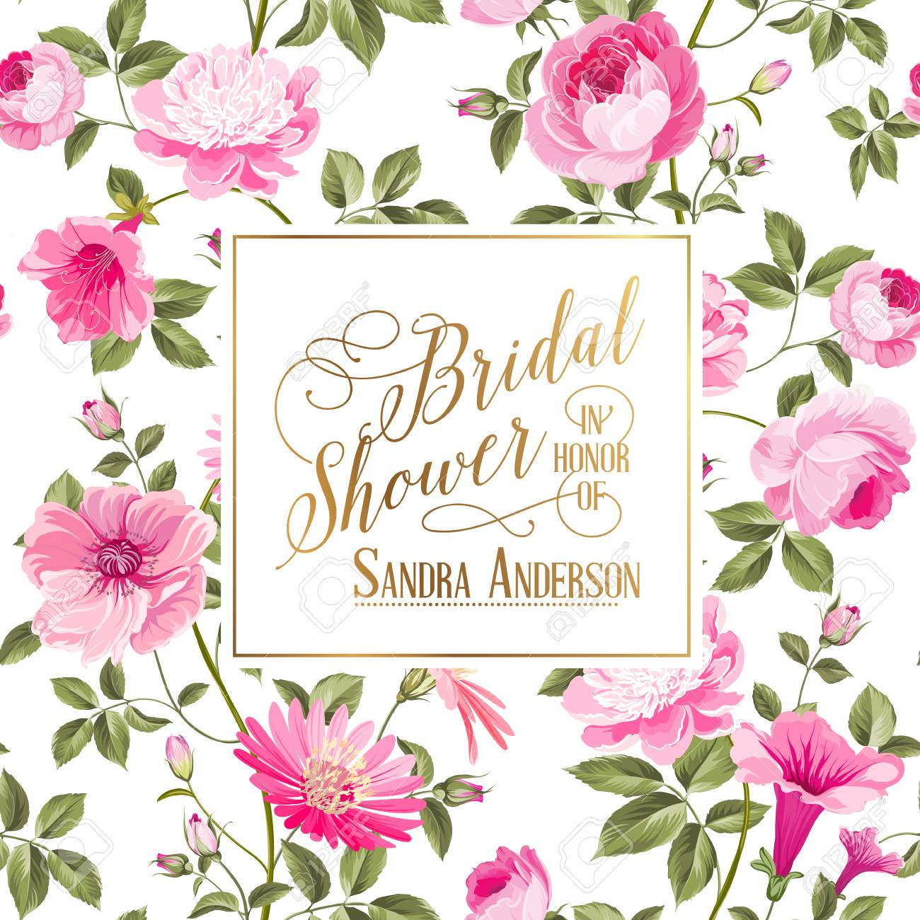 Bridal Shower invitation with flowers. Marriage design template...