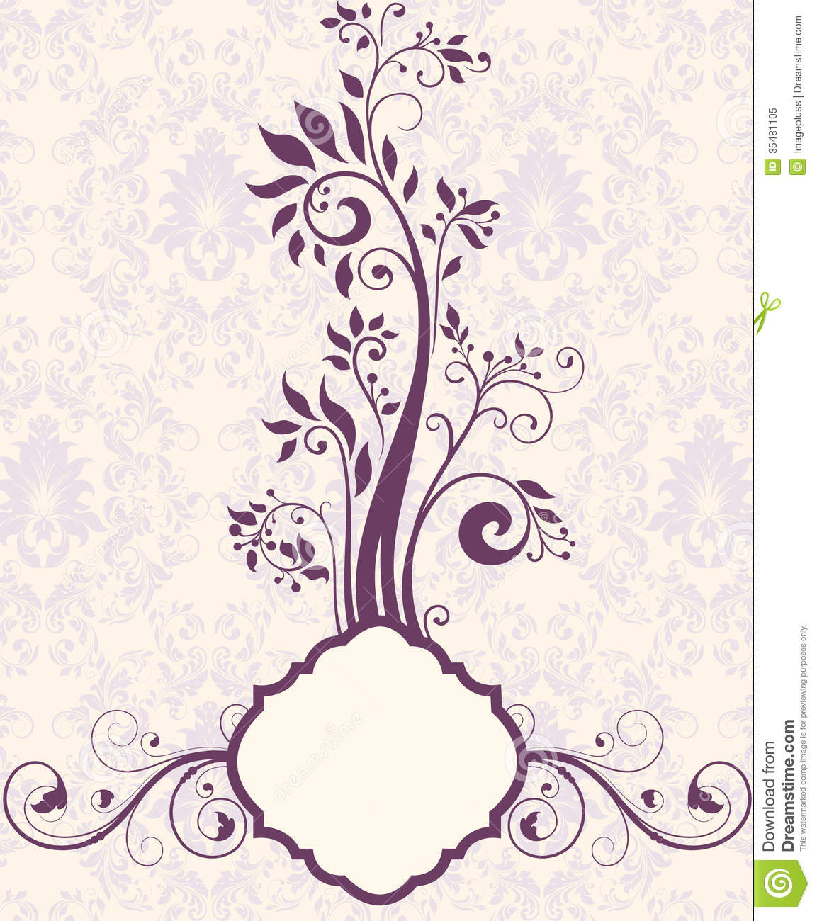 Purple Floral Bridal Shower Invitation Stock Vector.