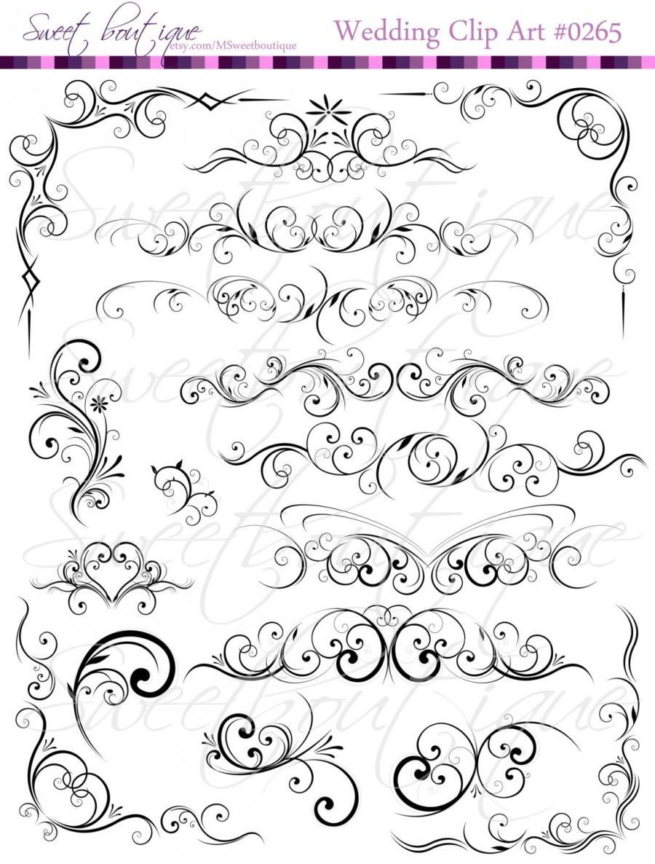 BLACK Digital Clip Art Floral Flower Clipart Silhouette Decorative.