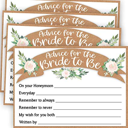 Bridal Shower Advice Cards, Advice for the Bride Cards, Fun Bridal Shower  Game, Bride Advice Cards, Advice and Well Wishes for the Bride Cards, 50.