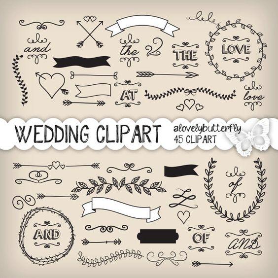 Wedding laurel clipart, wedding invitation digital, vintage bridal.
