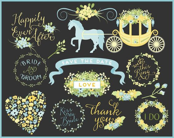 Wedding Words Clip Art.