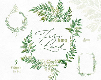 FernLand. Wreaths. Watercolor floral clipart, ferns, leaves, wild.