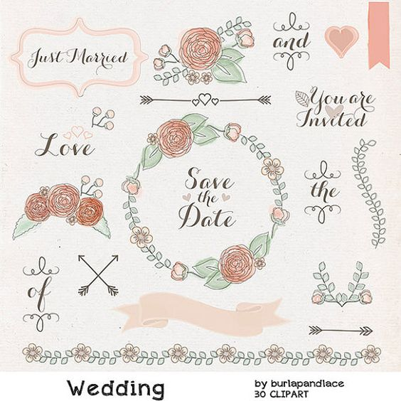 Watercolor clipart, Wedding wreath clipart flower, flower clipart.