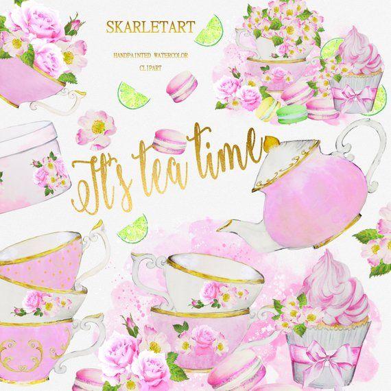 Watercolor Tea Party ClipArt Teacup Teapot Bridal Shower Invitation.