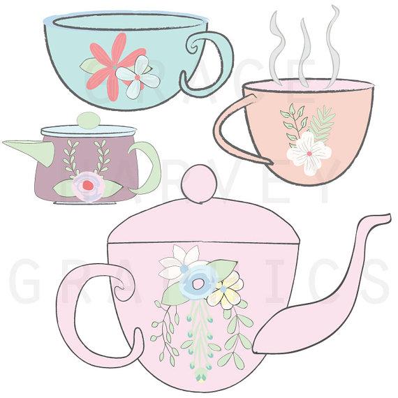 Tea Party ClipArt, Wedding Bridal Shower Clip Art, Tea Party.