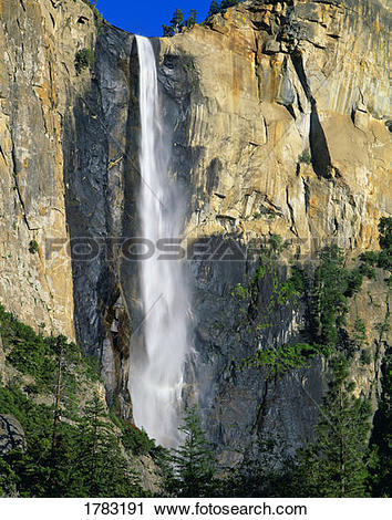 Stock Photography of Bridal Veil Falls, Yosemite National Park.