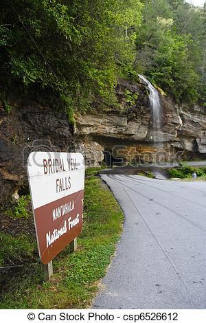 Stock Photo of Bridal Veil Falls, Nantahala National Forest, North.
