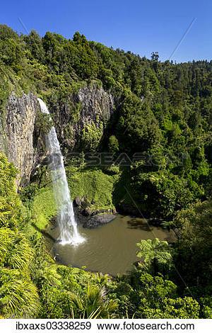 "Stock Photograph of ""Bridal Veil Falls, Raglan, Waikato Region."
