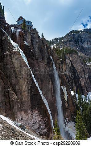 Stock Photography of Bridal Veil Falls Telluride Colorado.
