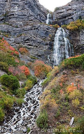 Bridal Veil Falls Provo Canyon Utah Stock Image.