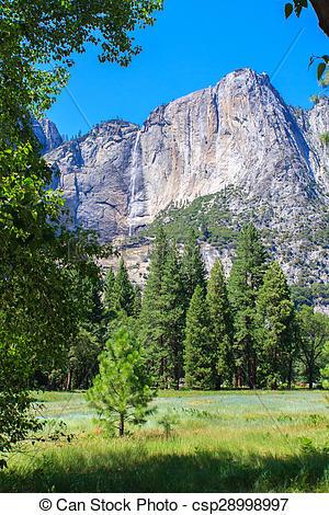 Stock Photographs of Bridal Veil Falls in Yosemite National Park.