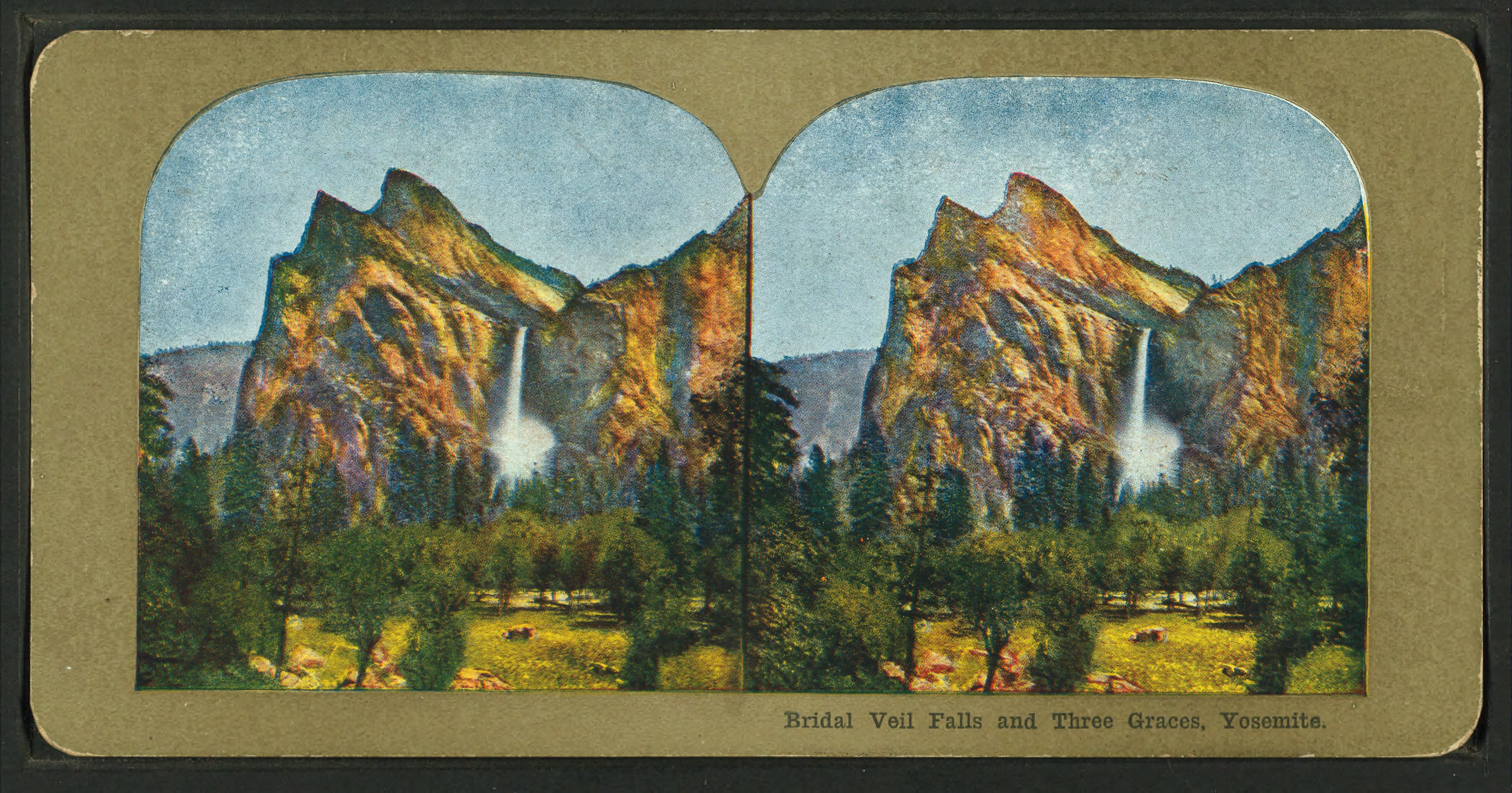 File:Bridal Veil Falls and THree Graces, Yosemite, from Robert N.