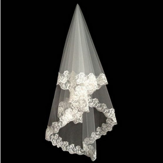 New Style White Long Lace Trim Bridal Veil / Wedding Veil.