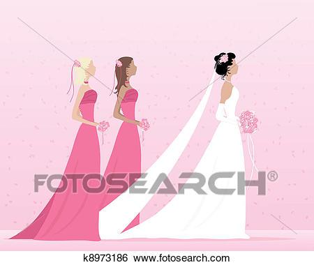Bride and bridesmaids Clip Art.