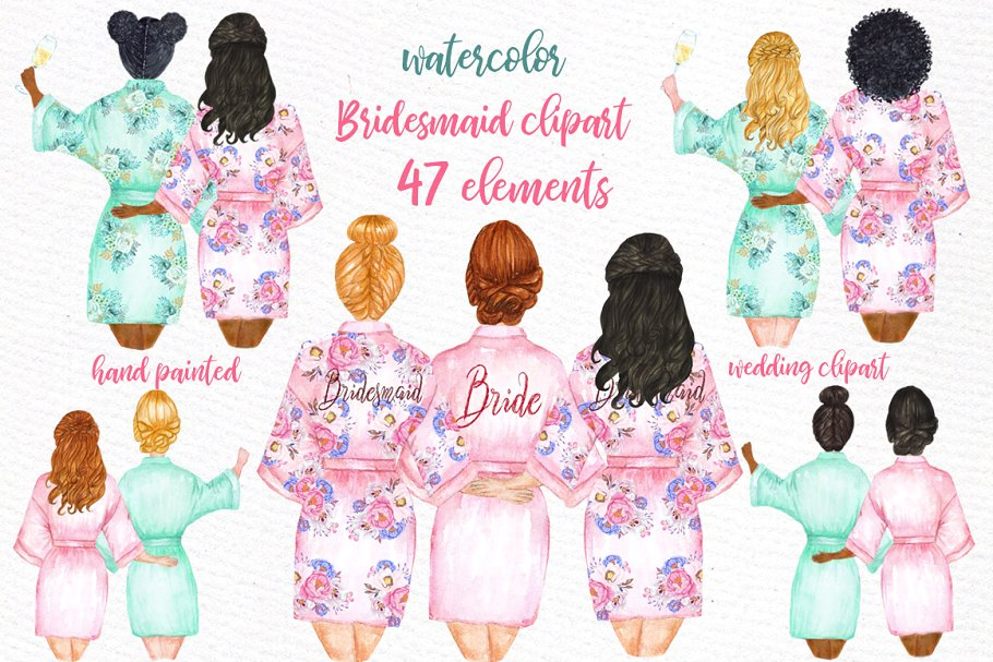 Bridesmaid Wedding Robes clipart ~ Illustrations ~ Creative Market.
