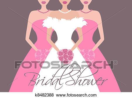 Bride and Bridesmaids in Pink Clip Art.