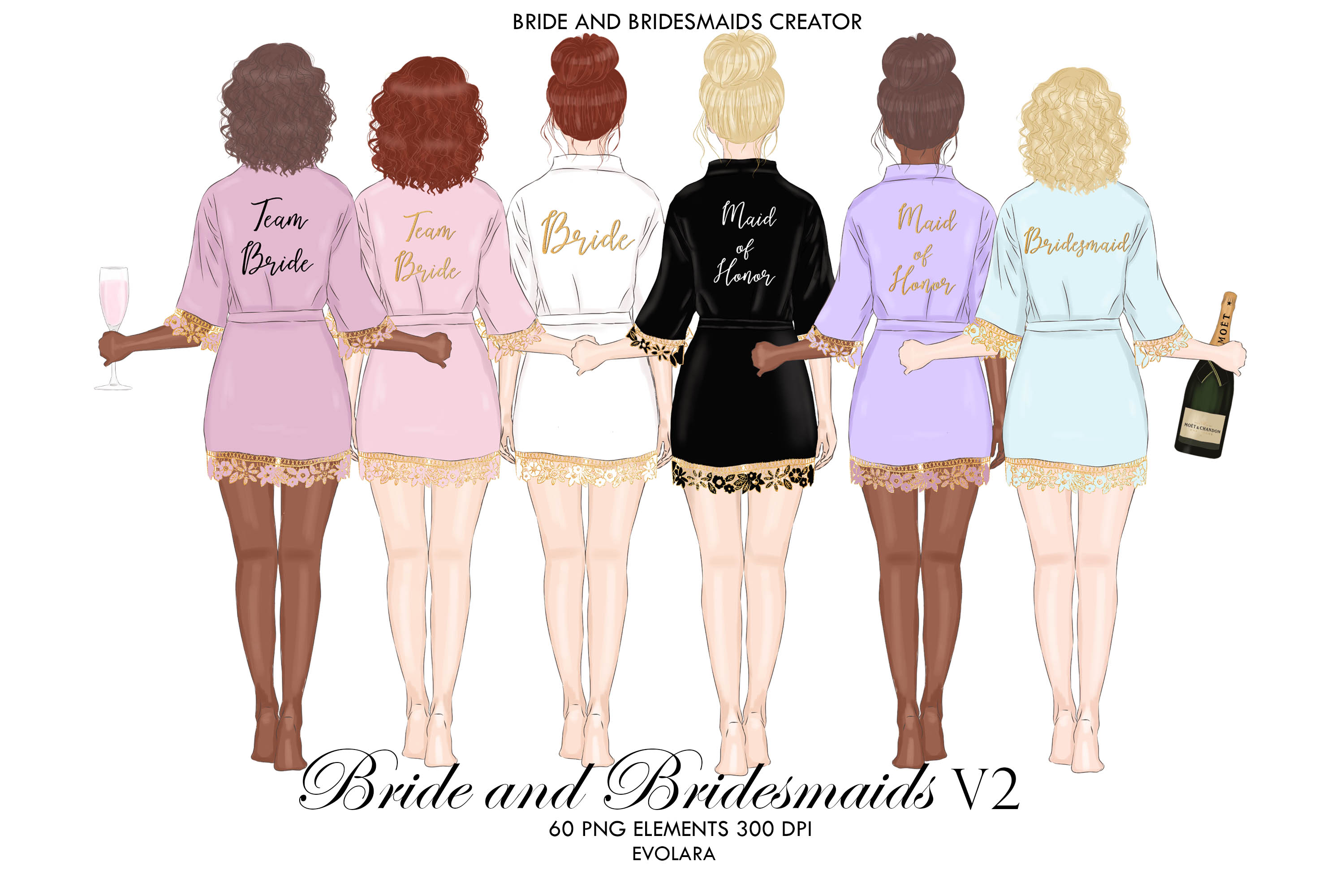 Bridesmaid Clipart Bride Robe Clipart Bride Tribe Clipart.