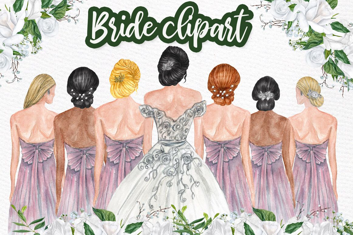 Bride and Bridesmaids clipart, Bridesmaid illustrations.