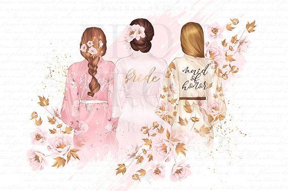 Wedding Clipart, Bride Clipart, Bridal Shower Invitation DIY, Maid.