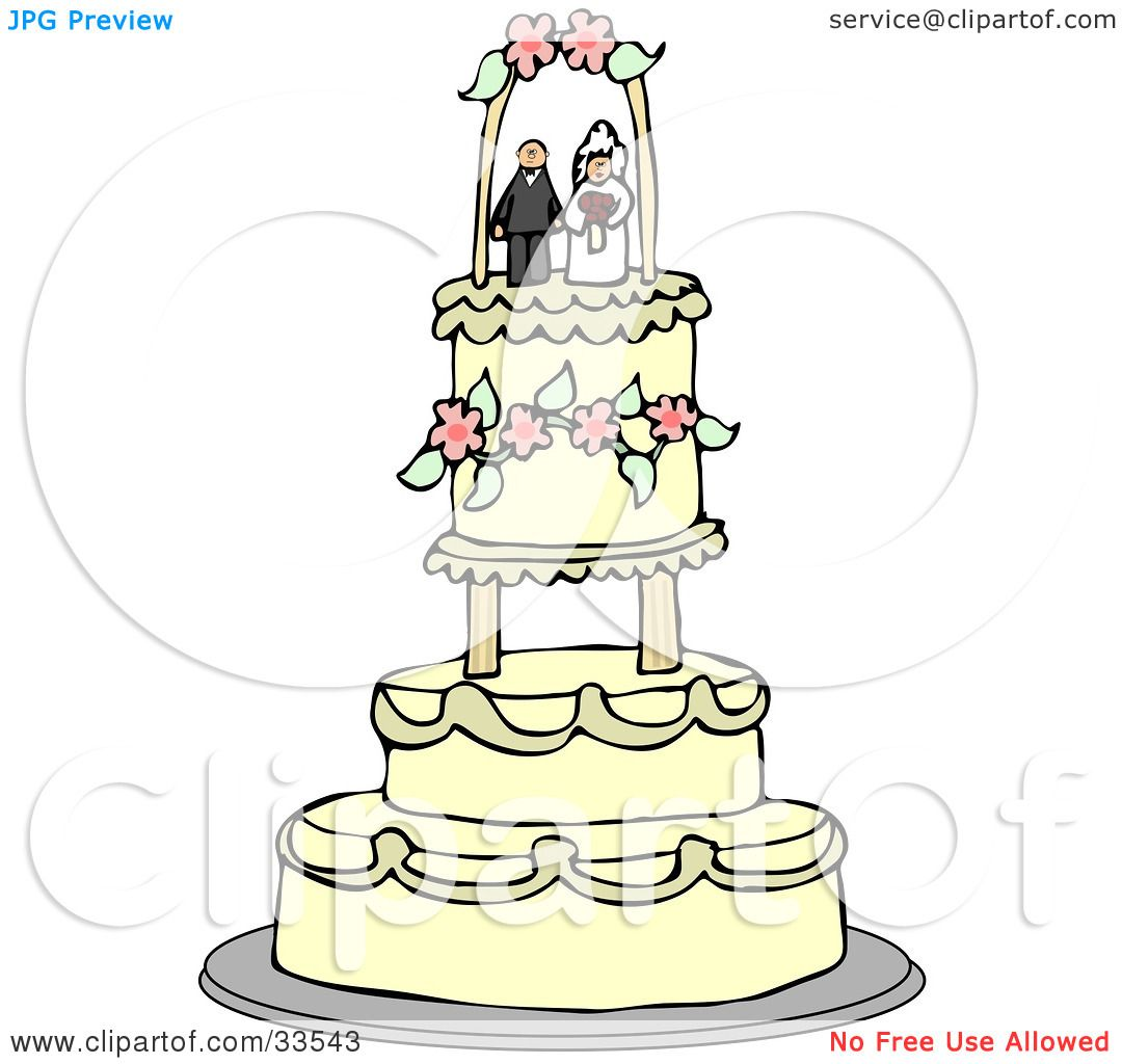 Clipart Illustration of a Bride And Groom Wedding Cake Topper.