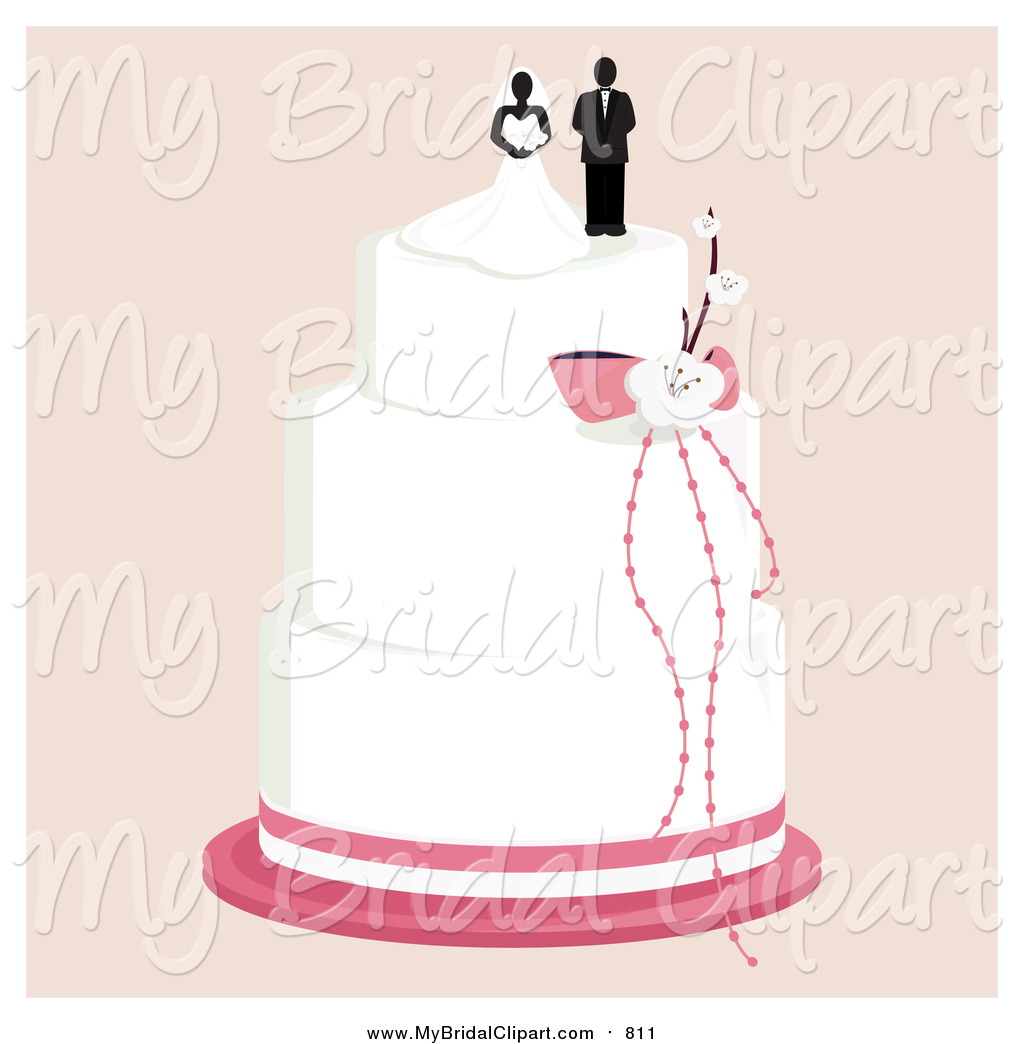 Bridal Clipart of a Wedding Cake with a Bride and Groom Topper by.