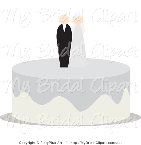 Bridal Clipart of a Bride and Groom Cake Toppers on Top of a.