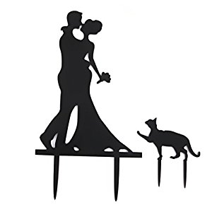 Amazon.com: Wedding Engagement Bride & Groom with Cat Cake Topper.
