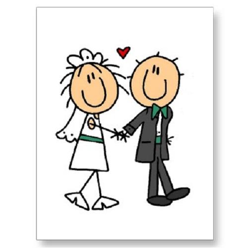 Bride and groom clip art.