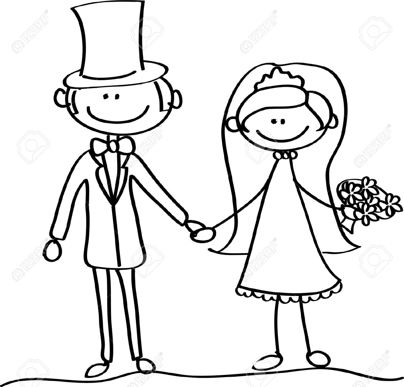 Line Art Wedding : Bride and groom clipart clipground
