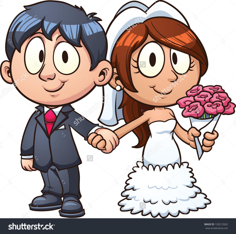 Cartoon Bride Groom Vector Clip Art Stock Vector 120213262.