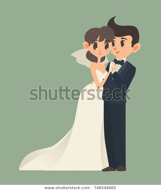 Bride Groom Cartoon Character Vector Illustration Stock Vector.