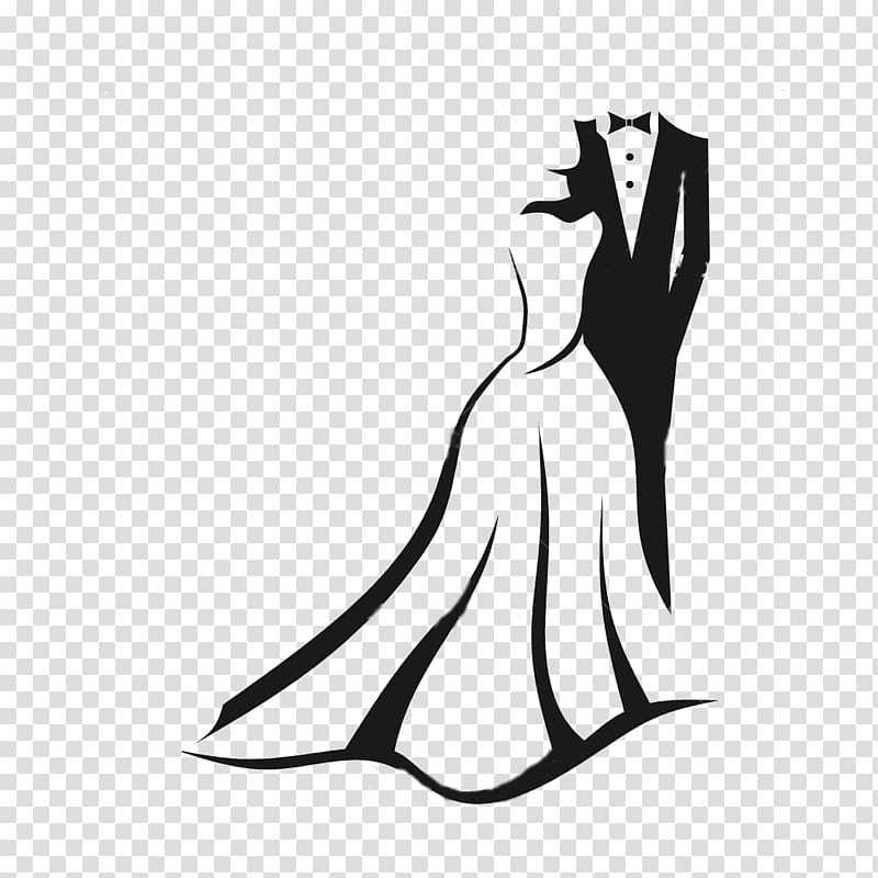 Man and woman formal attire silhouette illustration, Wedding.