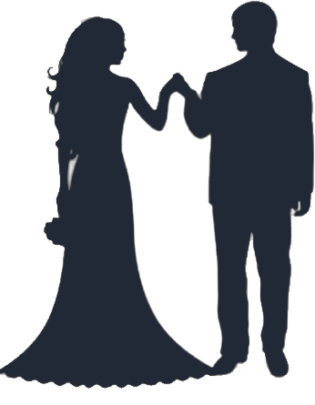 Free bride and groom silhouette clip art.