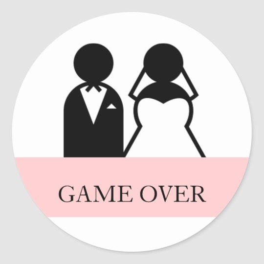 Game Over Bride Groom Clipart Wedding Stickers.