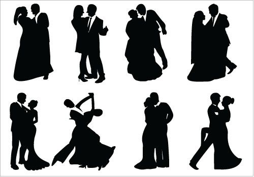 Bride and Groom Silhouette Dancing Couple Vector.