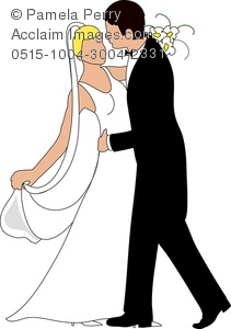 Clip Art Image of a Caucasian Bride and Groom Dancing.