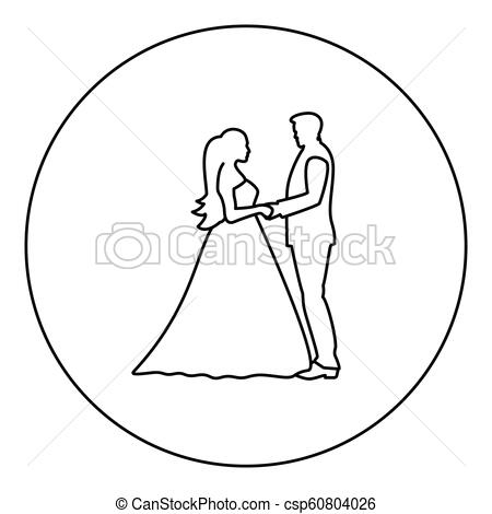 Bride and groom holding hands icon black color in round circle.