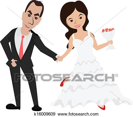 Bride and groom holding hands/ Groom and bride Clip Art.