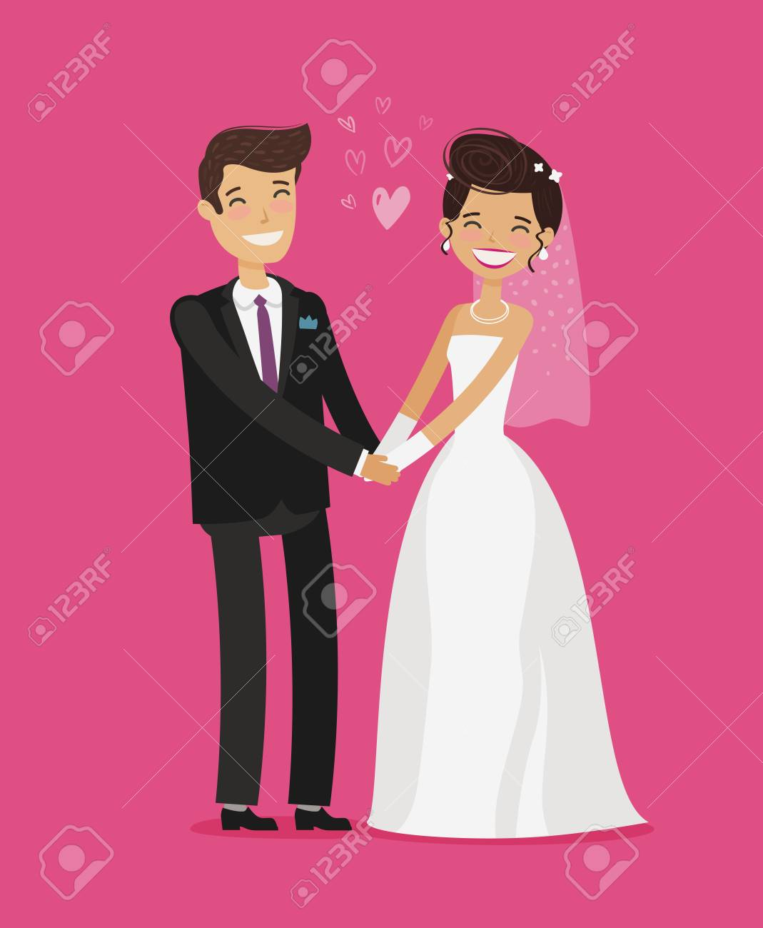 Wedding concept. Happy bride and groom holding hands. Cartoon...