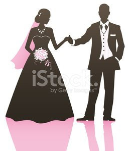 Bride and Groom Holding Hands premium clipart.