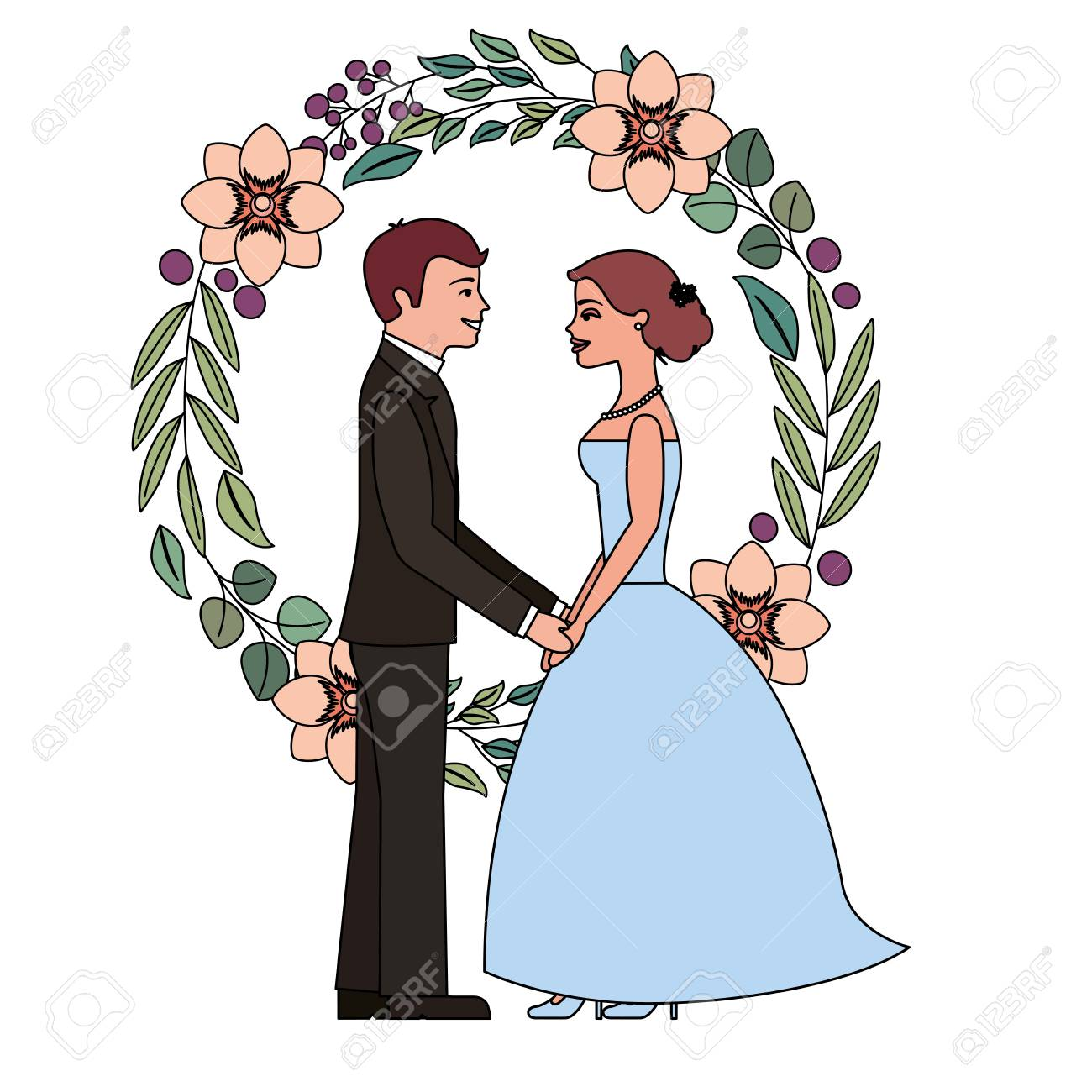 bride and groom holding hands in wreath flowers vector illustration.
