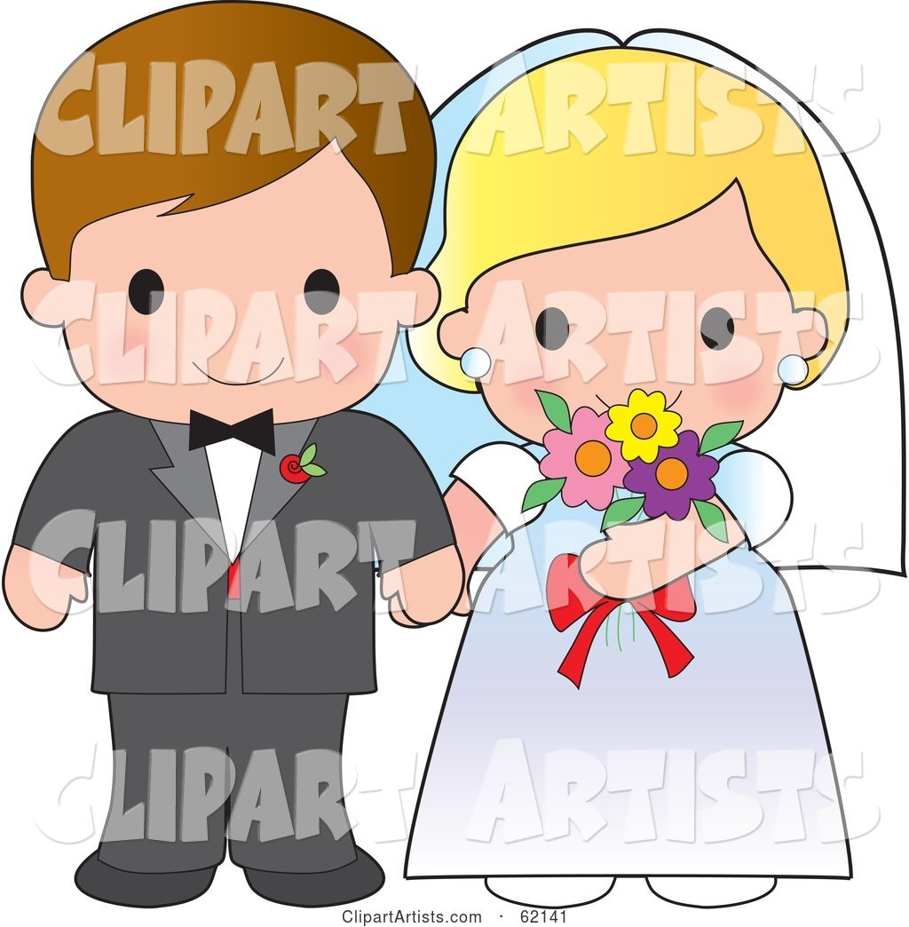 Cute Bride And Groom Wedding Couple Holding Hands Clipart by Maria.
