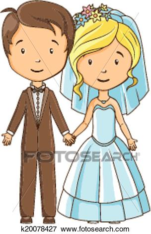 Cartoon style bride and groom holding hands Clip Art.