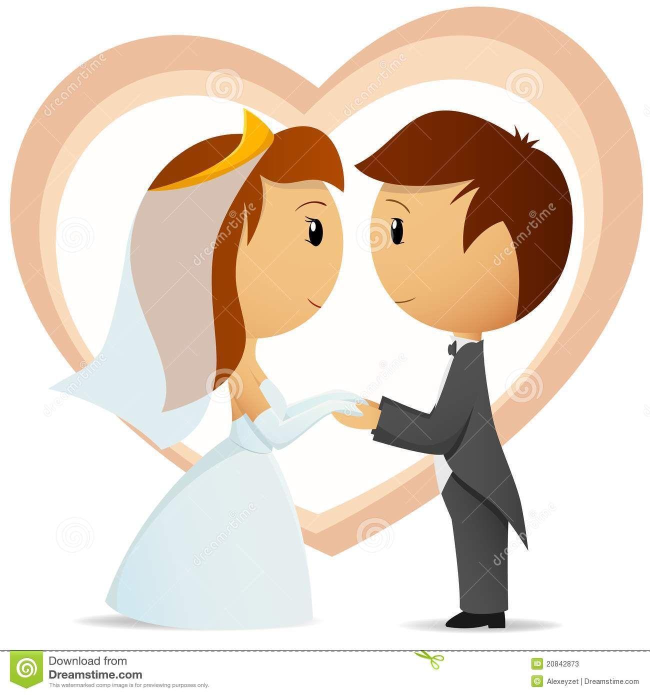 Cartoon Bride And Groom Hold Hand Each Other Stock Photos.