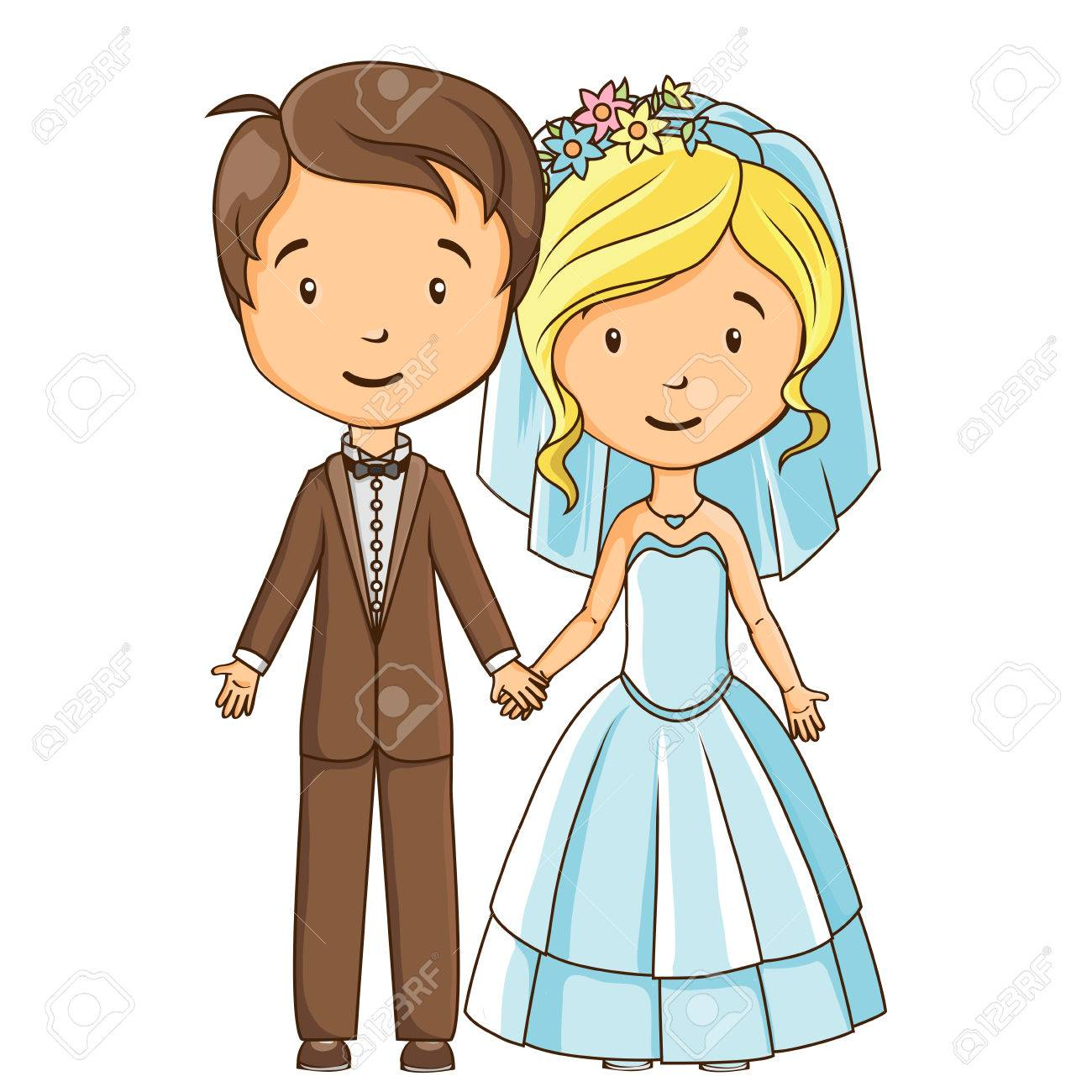 Cartoon style bride and groom holding hands.
