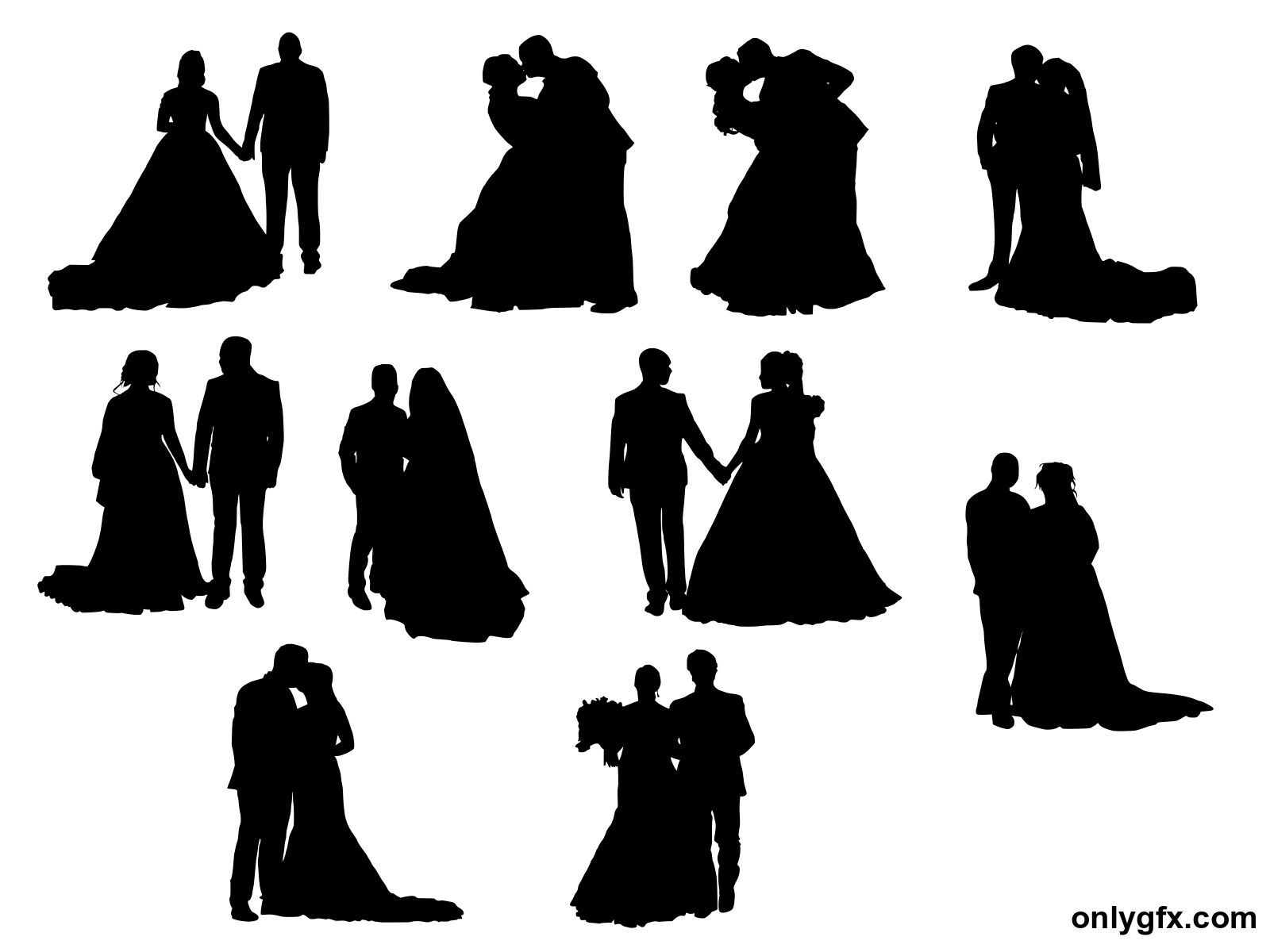 10 Bride and Groom Silhouette (PNG Transparent).
