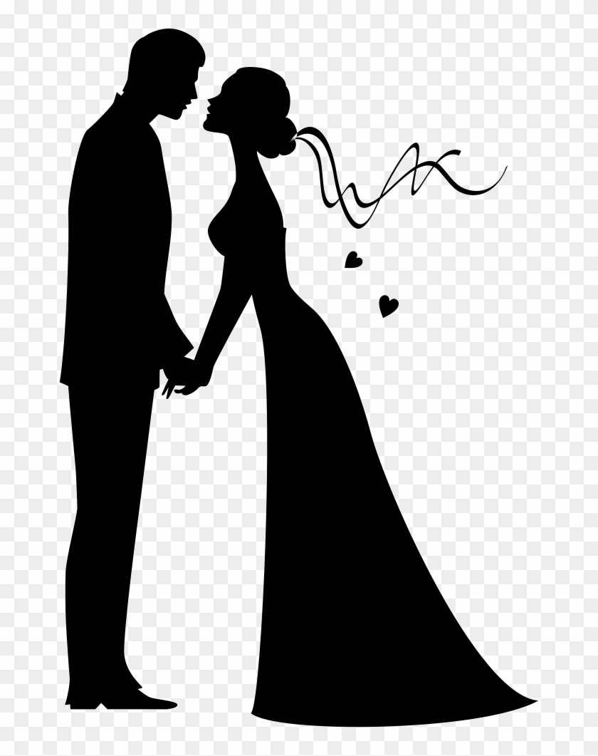 Bride And Groom Kissing Silhouette, HD Png Download.