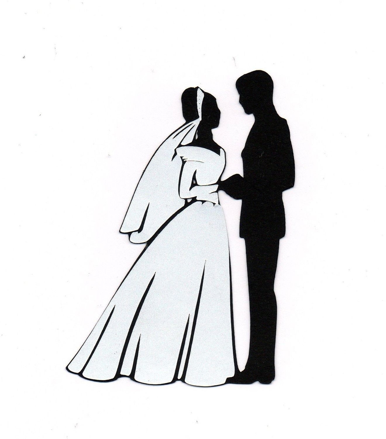 Bride And Groom Silhouette Clip Art.